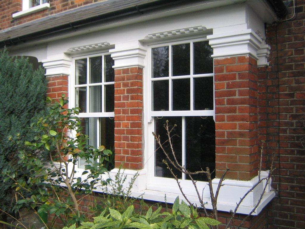White timber box sash window