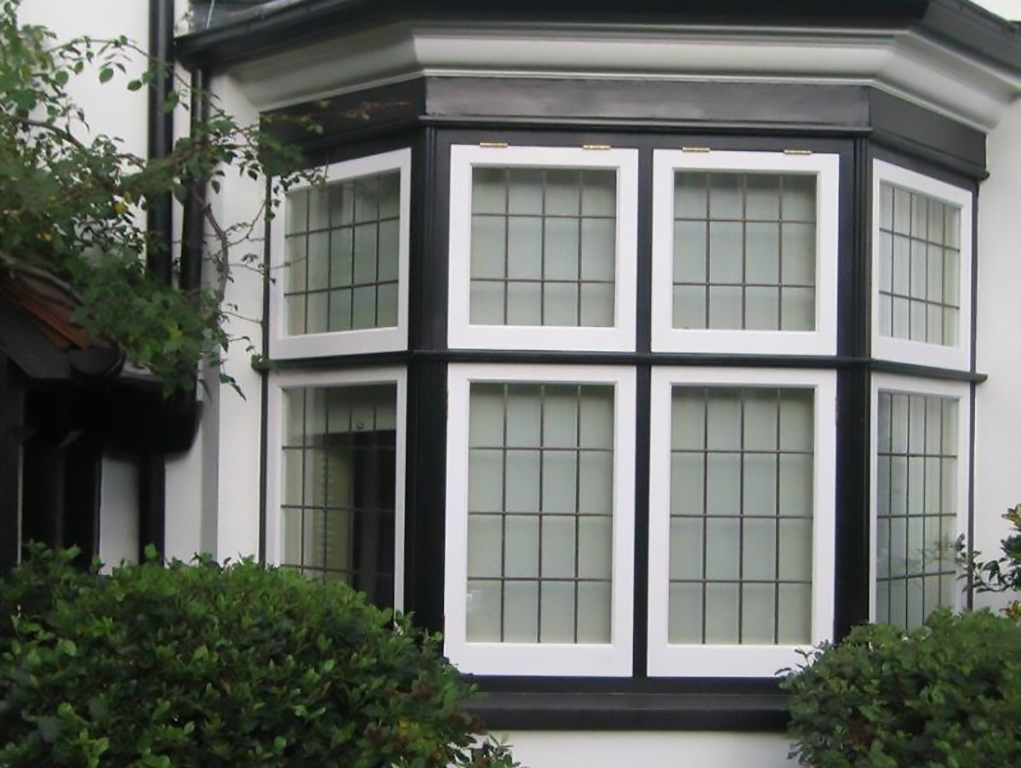 Black and white timber window