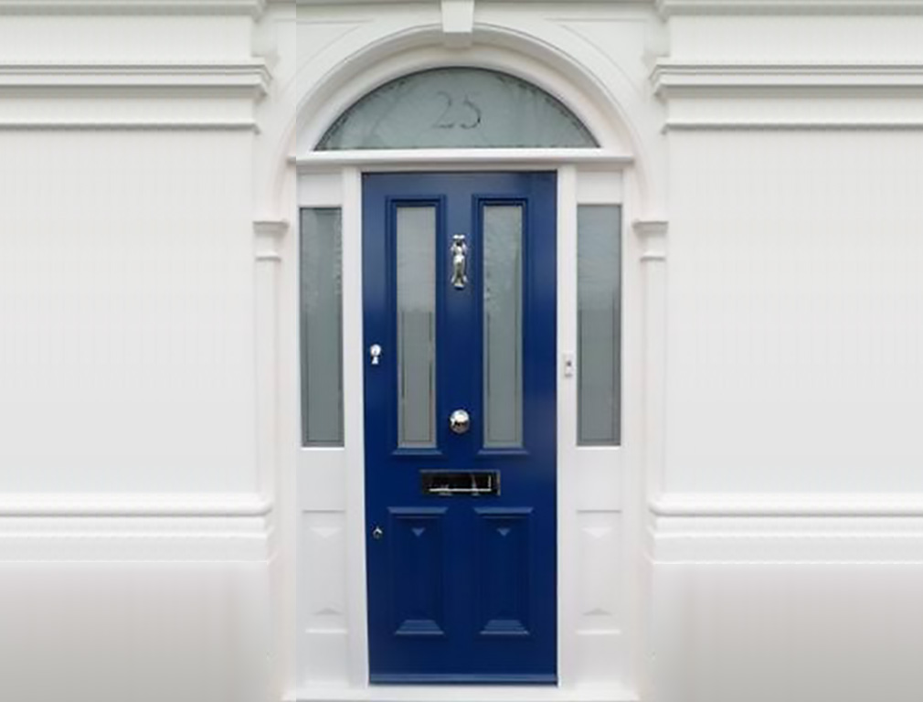 Blue timber wood front door