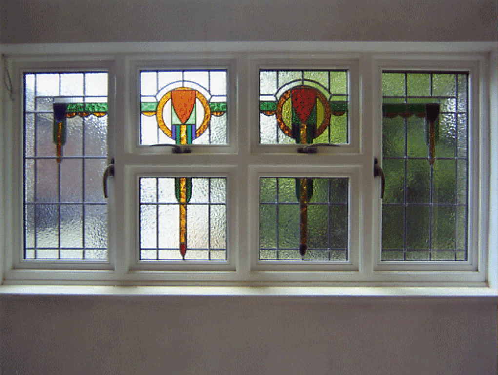 Coloured glass fanlights