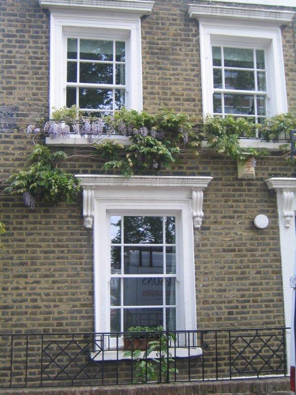 Traditional timber white box sash windows