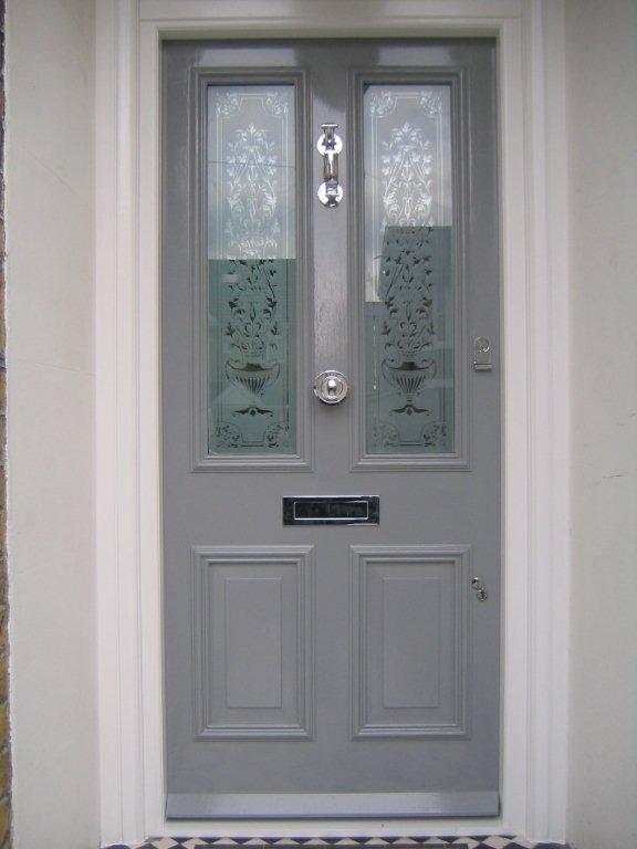 Grey wood front door