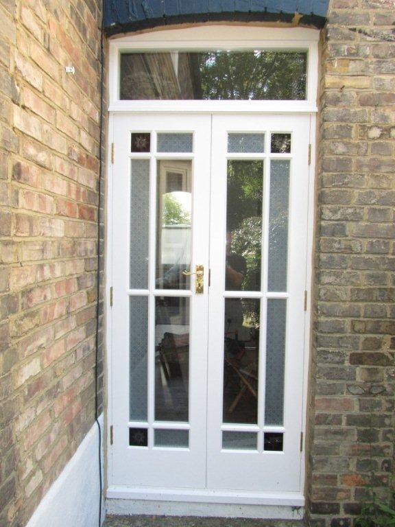 White wood double doors