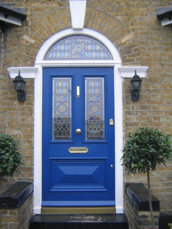 Stain glassed blue front door