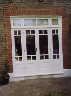 White wood patio doors